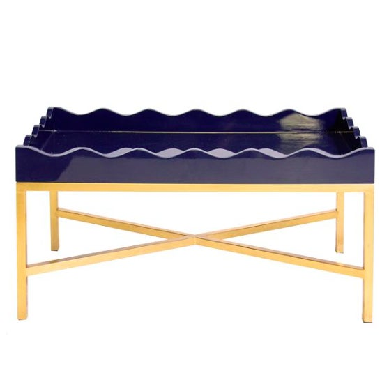 Navy Lacquer Cocktail Tray Table - Image 1 of 3