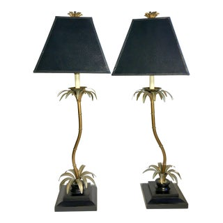 Silver & Gold Gilt Palm Tree Lamps - A Pair