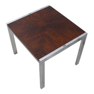 Danish Modern Small Rosewood & Chrome Accent Table