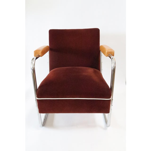 Vintage German Mohair Upholstered Chrome Chair - Image 2 of 6