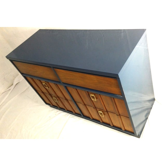 Mid-Century Mahogany & Blue Lacquered Dresser - Image 3 of 5
