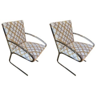 Mid-Century Chrome Armchairs - A Pair