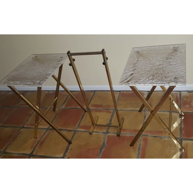Lucite & Brass Tray Tables & Caddy - Set of 2 - Image 3 of 7