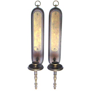 Aged Brass Gothic Walnut Candle Sconces