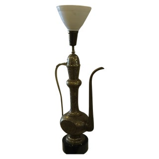 Brass Moroccan Pitcher Lamp on Wood Base