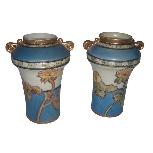 Powder Blue & Peach Nippon Vases - A Pair - Image 1 of 9
