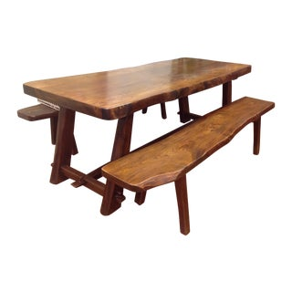 French Live-Edge Slab-Top Dining Table W/Benches
