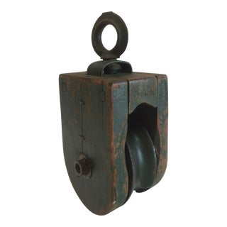 Vintage Green Painted Wood & Metal Pulley