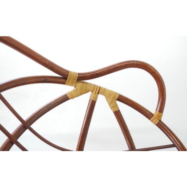 Mid-Century Swivel Rattan Bamboo Pod Chair & Ottoman - Image 6 of 6