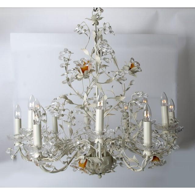 White Metal & Crystal Italian Chandelier - Image 7 of 11