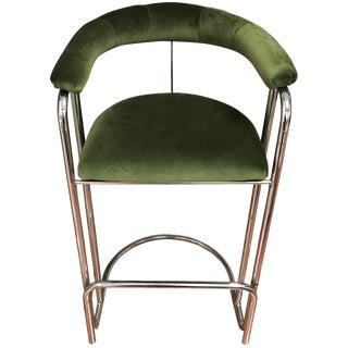 Vintage Italian Green Velvet Bar Stools - A Pair