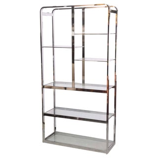 Milo Baughman Chrome Etagere, Book Shelves, 1970s USA