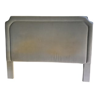French King Blue Velvet Upholstered Headboard