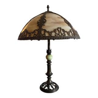 Leaded Glass & Iron Lamp