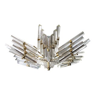 Shimmering & Good Quality Camer Flush Mount Chandelier with Venini Tiedri Glass