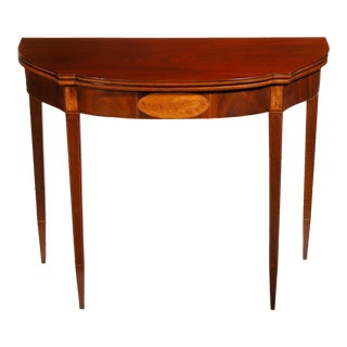 Inlaid Mahogany & Figured Satinwood Federal Hepplewhite Card Table