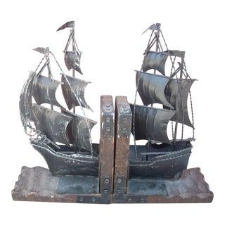 Metal Sailing Ship Bookends - A Pair