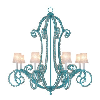 Ornate Iron & Lead Crystal Chandelier