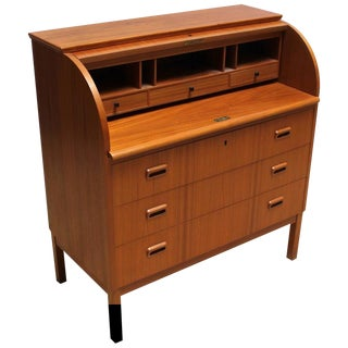 Scandinavian Teak Roll Top Secretary Desk