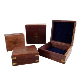 Birch Boxes With Brass Details - Set of 4