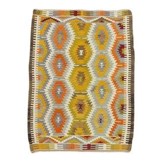 Handwoven Vintage Colorful Turkish Kilim Rug