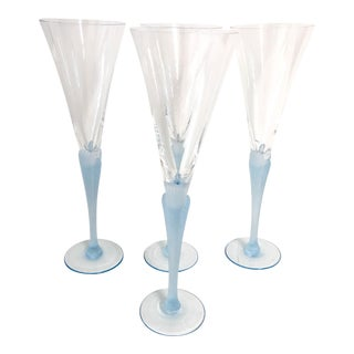 Light Blue Frosted & Crystal Champagne Glasses - Set of 4