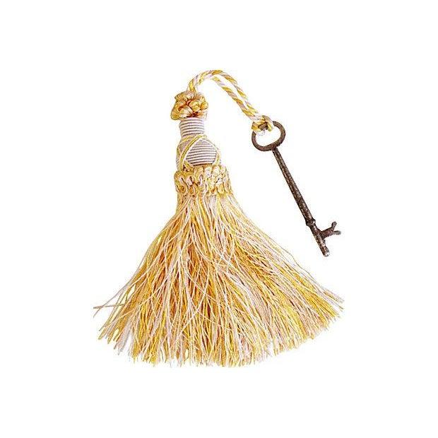Image of Antique Skeleton Keys with Ivory Tassels - Pair