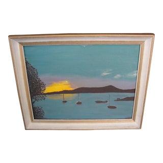Sunset & Sail Boats Oil on Board