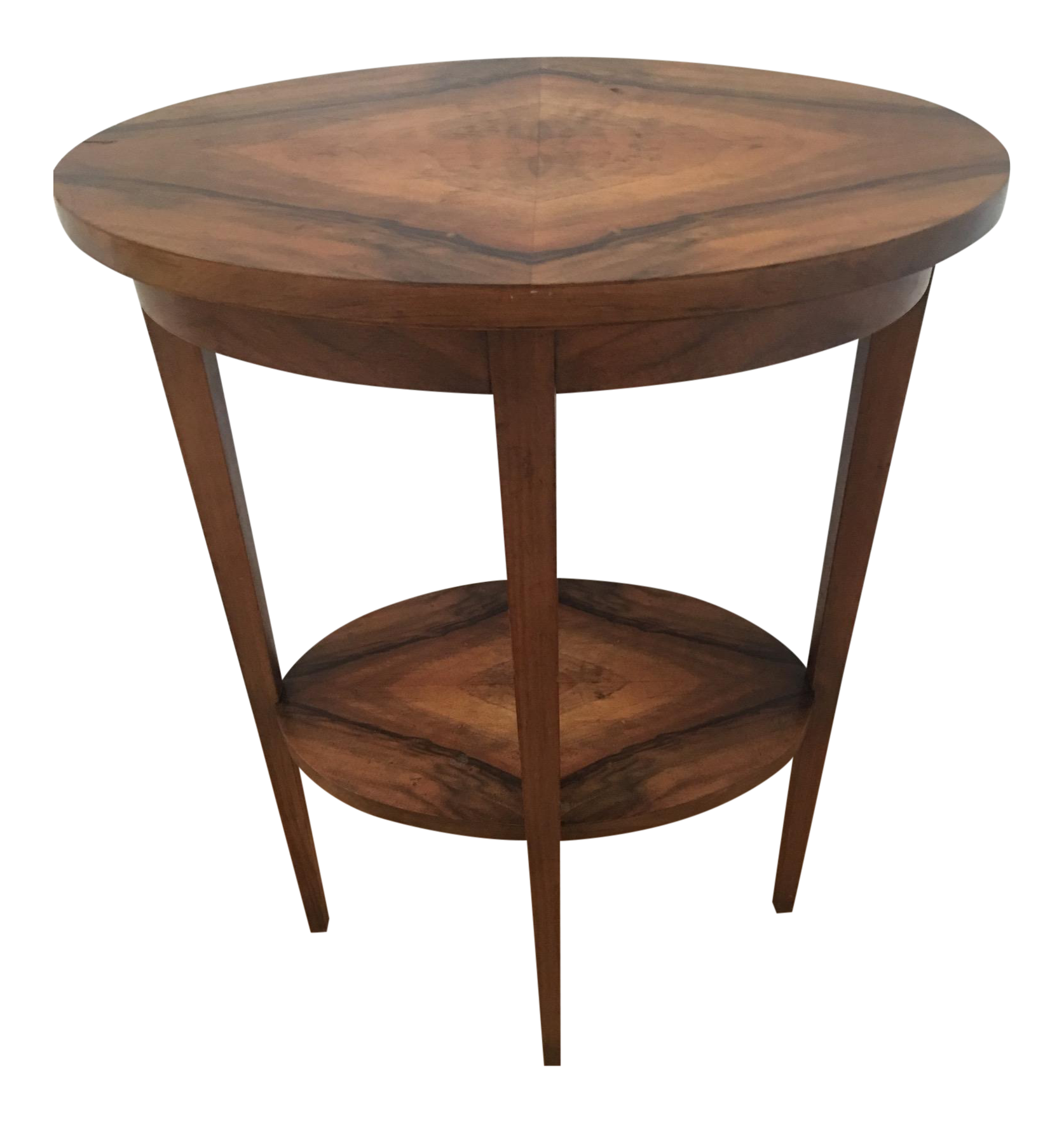 Antique Oval Double Tiered Veneered Side Table