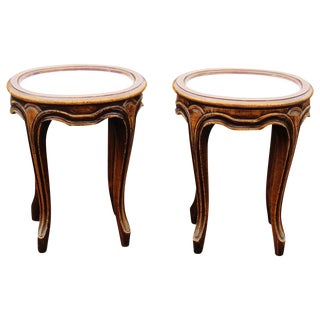 Walnut Marble Top Plant Stands - A Pair