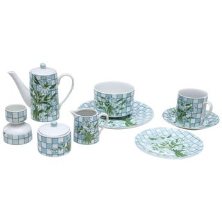Daisy and Checkerboard Decorated Porcelain Breakfast Set - 9 Pieces