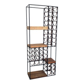 Arthur Umanoff Wine Rack With Leather Straps