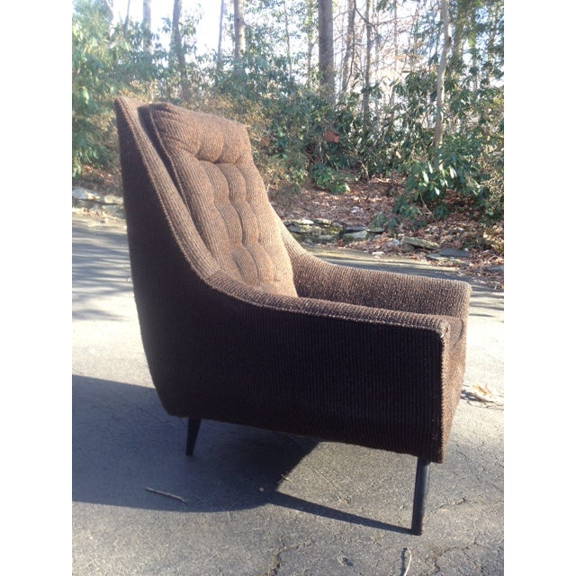 Mid-Century Modern Tufted Brown Club Chair - Image 3 of 9