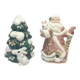Ceramic Santa Salt and Pepper Shakers-A Pair