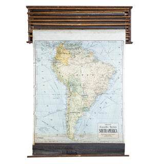 Crams 1938 South America Vintage Pull Down Map