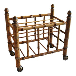 1920s Carved Wooden Bamboo-Style Magazine Rack Holder