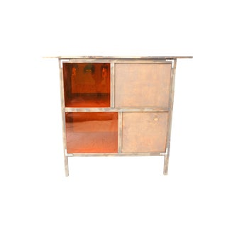 Reclaimed Wood Bar With Orange Lucite