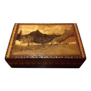 Vintage Wooden Mountain Valley Inlay Box
