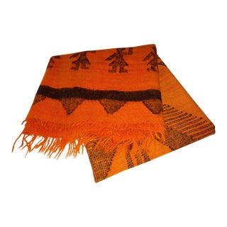 Vintage Native American Woman Symbols Orange and Black Wool Blanket