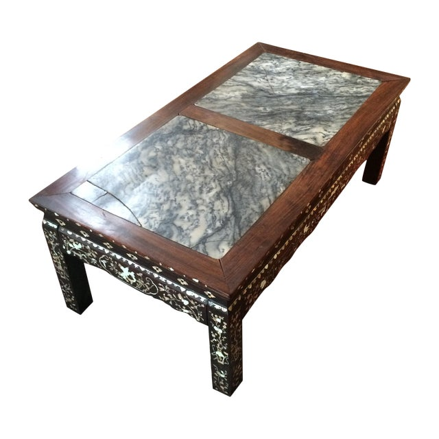 Chinoiserie Mother of Pearl Marble Table - Image 1 of 9