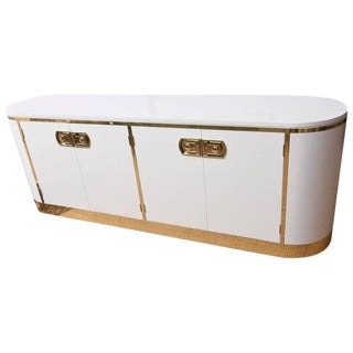 Mastercraft White Lacquered and Polished Brass Credenza/Cabinet