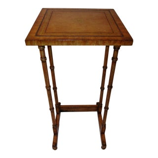 Small Leather Top Maitland Smith Side Table