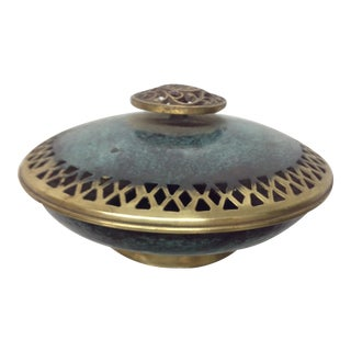 Boho Patinated & Incised Brass Covered Dish