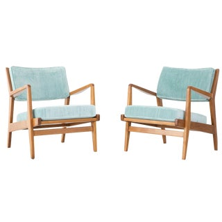 Jens Risom Vintage Walnut Lounge Chairs - A Pair