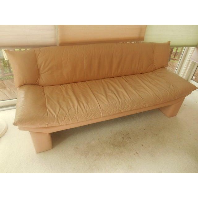 Image of Oriental Gondola Style Salmon Leather Sofa