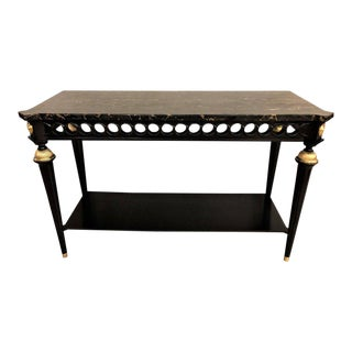 Jansen Style Ebonized Marble Top Bronze-Mounted Console or Sofa Table