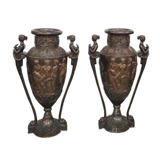 Large Allegorical Scene Bronze Urns - Pair