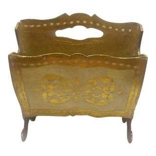 Vintage Florentine Italian Gold Gilt Magazine Holder