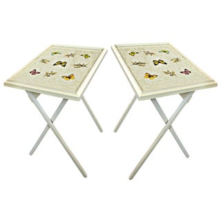 Vintage Butterfly Motif Folding Tables - A Pair