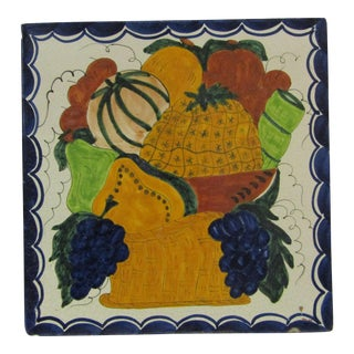 Vintage Hand-Painted Square Fruit Tile